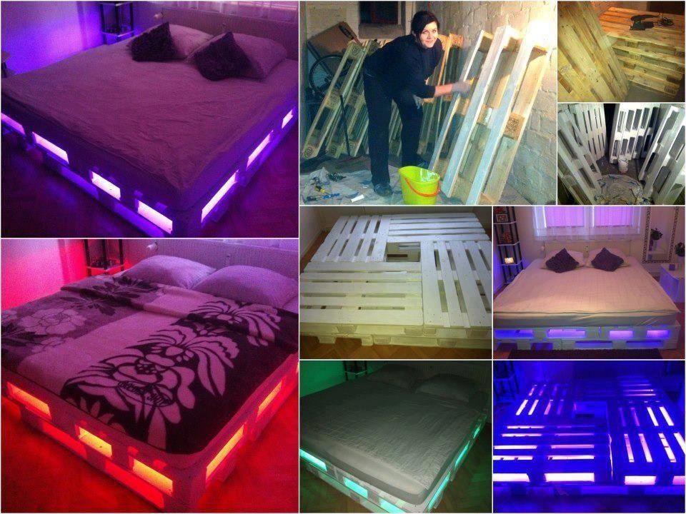un lit lumineux avec des palettes de bois quoi faire. Black Bedroom Furniture Sets. Home Design Ideas