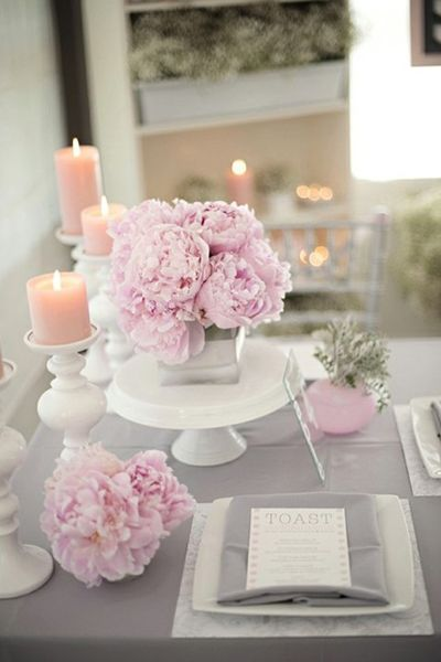 Idees Centre De Table Pivoines Mariage Theme Gris Et Rose Pale Pas