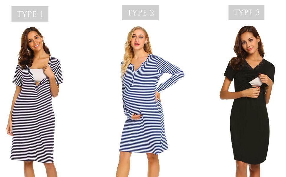 12e7cc7ec6cc5 55% Striped Nursing Nightgown Breastfeeding Sleep Dress | Coupons ...
