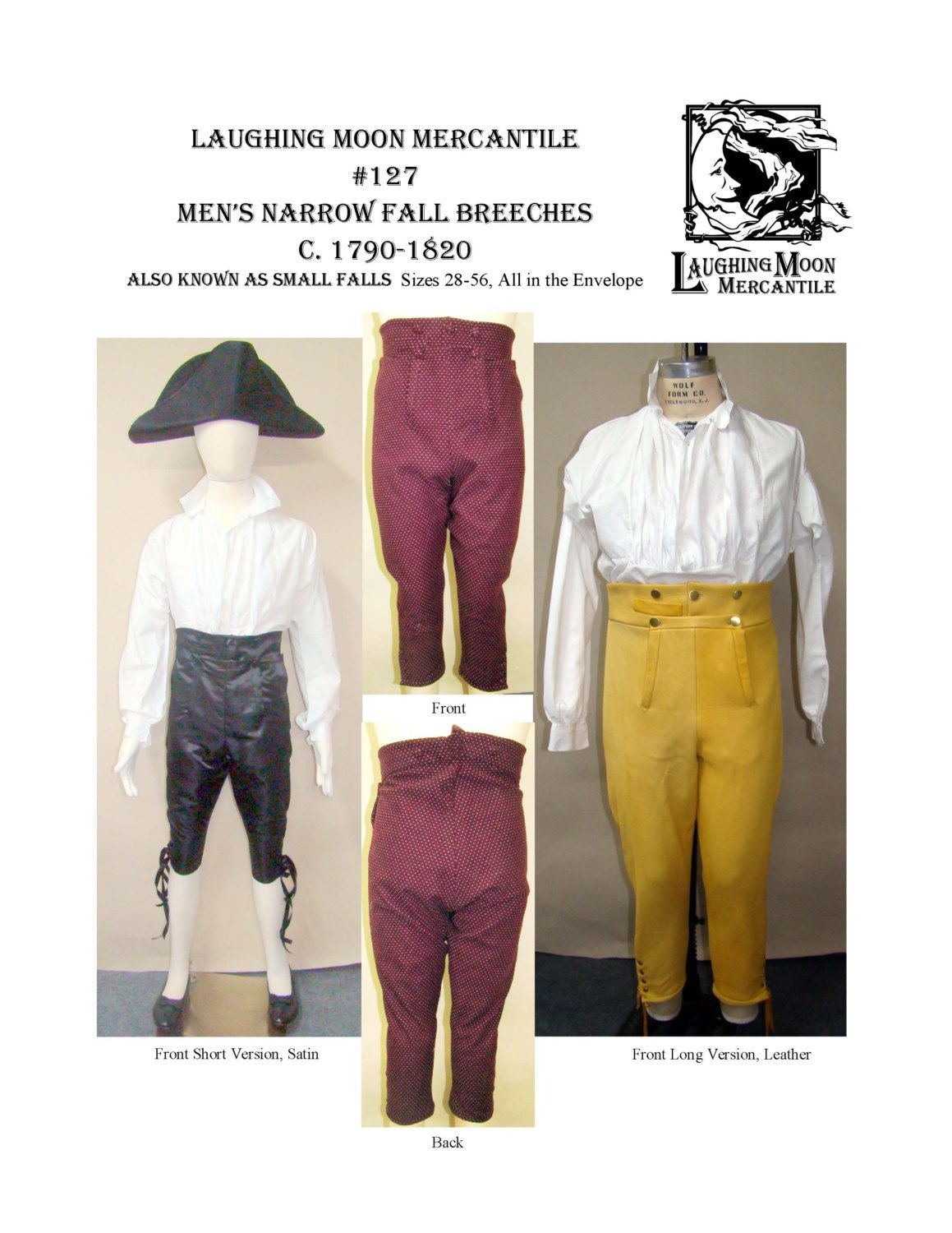 LM127 - 1790-1820 Men\'s Narrow Fall Front Breeches Sewing Pattern by ...