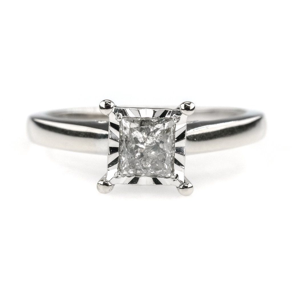 0 25ct Princess Diamond Solitaire Illusion Set Engagement Ring 10k White Gold In 2020 Detailed Engagement Ring Engagement Rings Princess Diamond