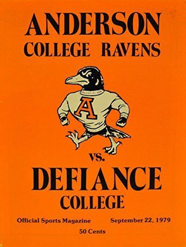 September 22, 1979 Anderson College Ravens Vs. Defiance College Offical Sports Magazine