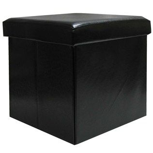 Black Faux Leather Storage Ottoman with Lid Hobby Lobbys must