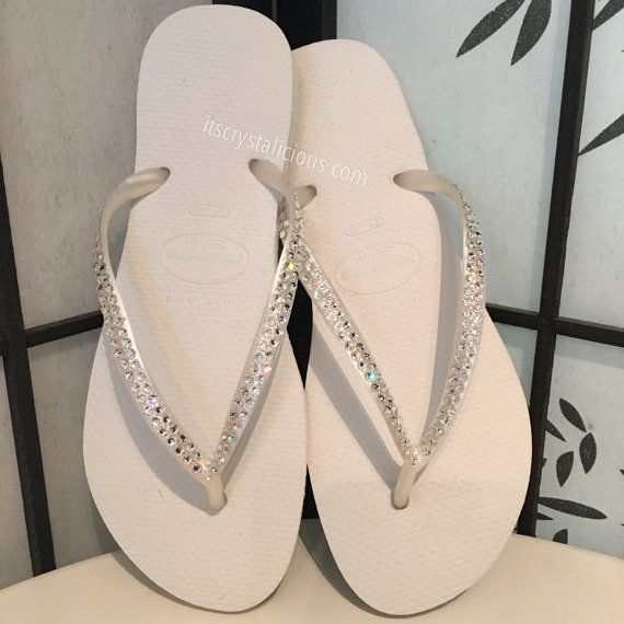 52170d17ac3d70 White Havaianas Covered In SWAROVSKI Crystal Bling Flip Flops ...