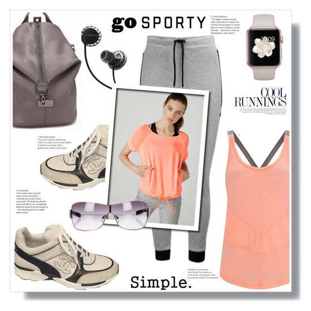 """""""GO"""" by stranjakivana ❤ liked on Polyvore featuring Sweaty Betty, Chanel, SOL Republic, Bershka, adidas, Prada Sport, CO, polyvoreeditorial and sportystyle"""