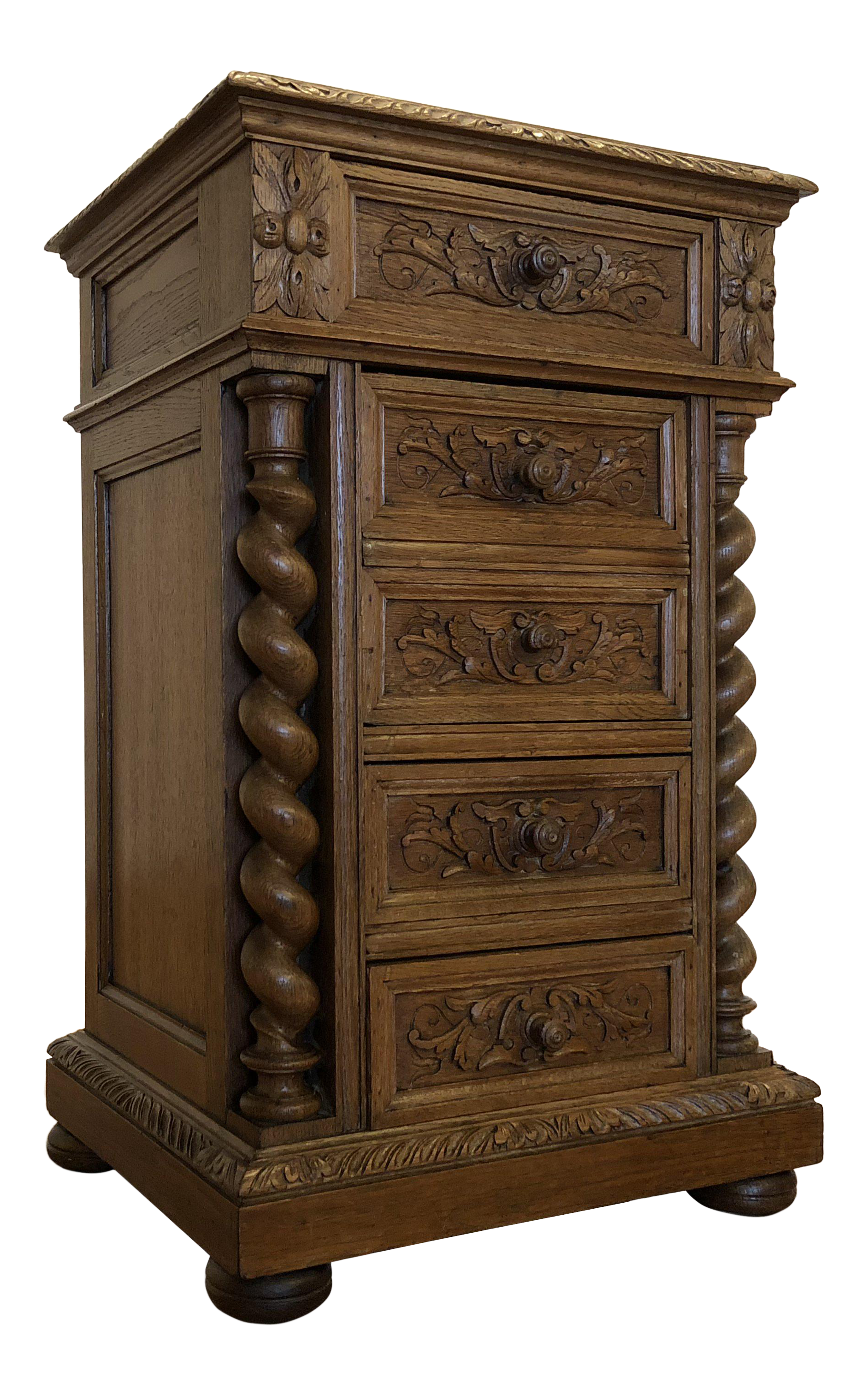 Late 19th Century Antique English Oak Carved Glass Top ...