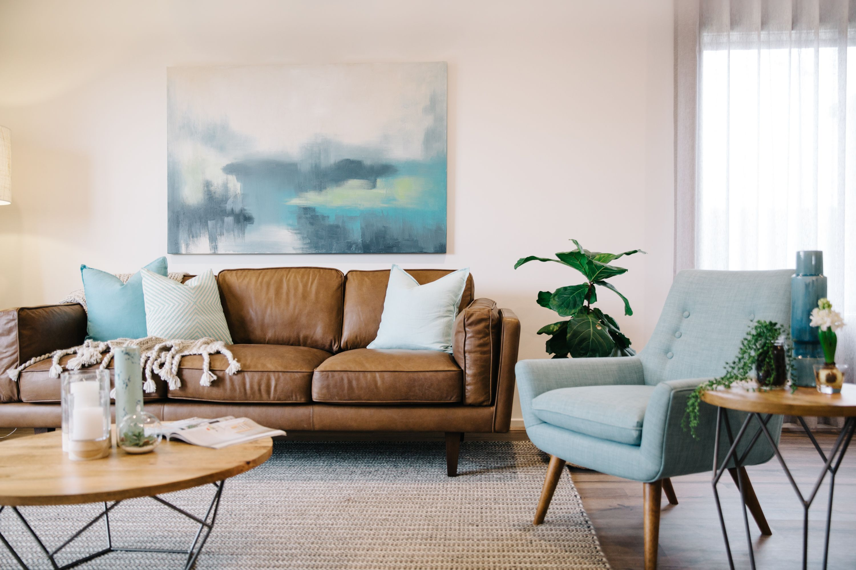 Image result for colour schemes to go with brown leather