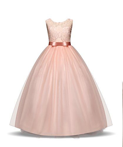 ffd5e3a396f9 ZerYoYus Little Girls Lace Princess Dress Evening Floor Tulle Wedding Party  Gowns Girls Sleeveless Dress for
