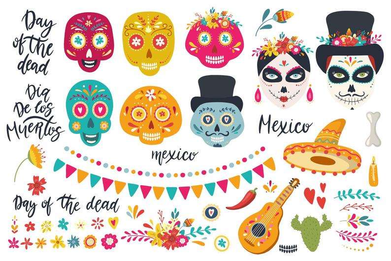Day Of The Dead Art Halloween Clipart Cinco De Mayo Clipart Etsy Day Of The Dead Day Of The Dead Art Halloween Clipart