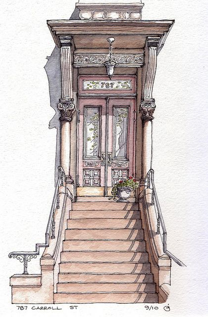 787 Carroll Street Watercolor Architectural Prints Watercolor