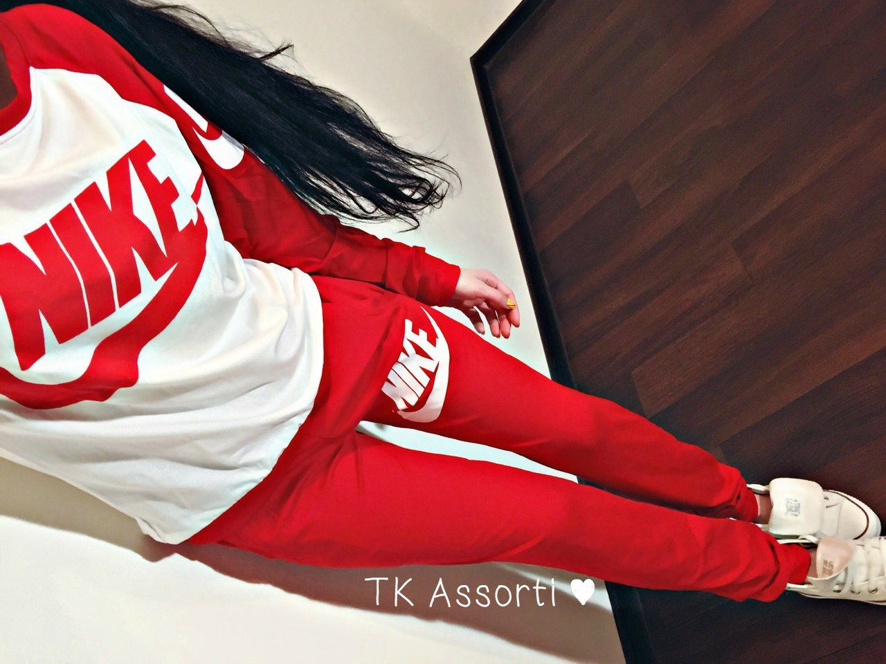 Article Cdf00061 Red White Tracksuit Sweatsuit Stylish Womens Red And White Sweatsuit Cute Lazy Day Outfits Fashion Red Nike