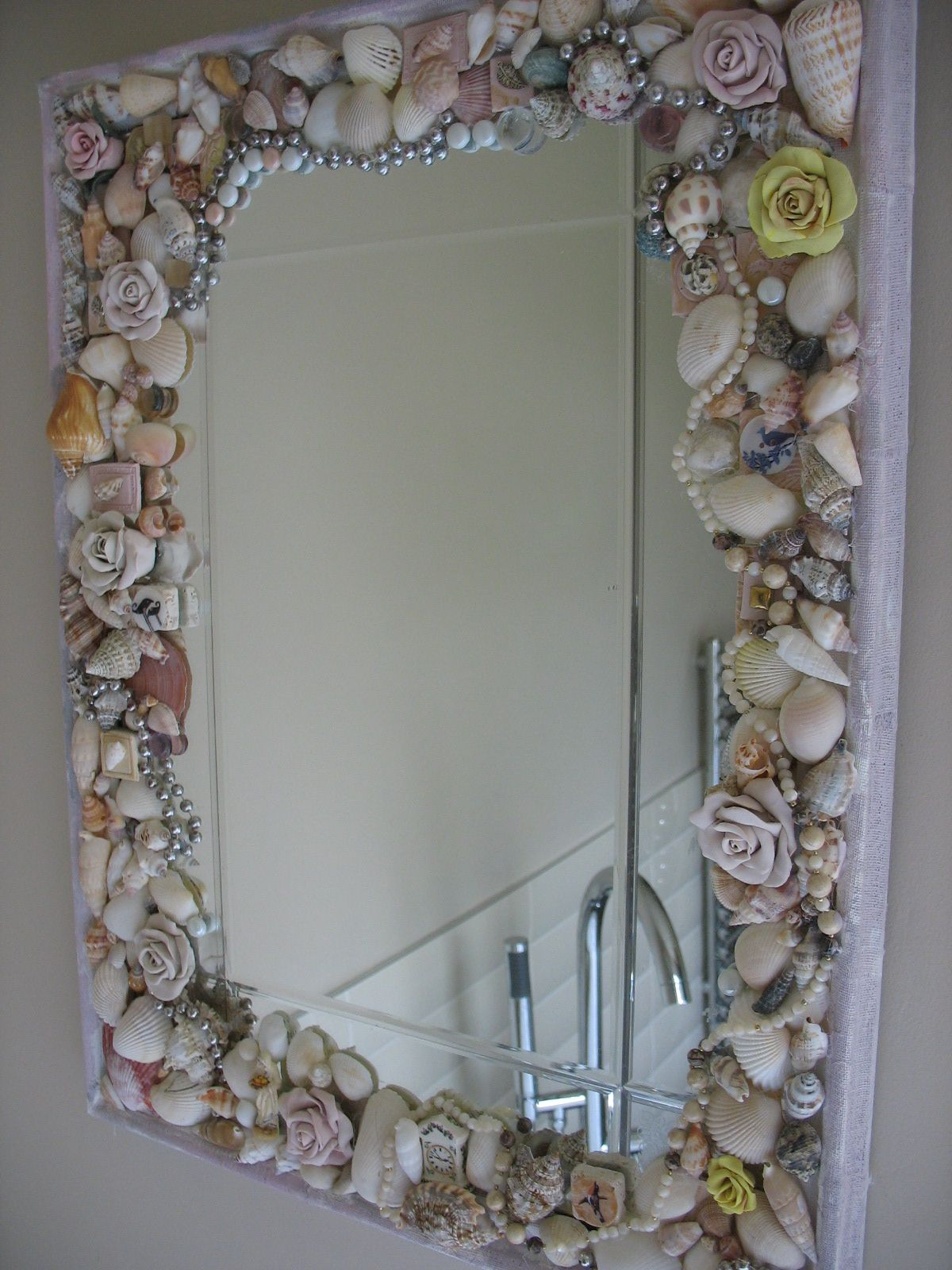 Shell Mirror With Mixed Media Polymer Clay Roses Beads Junk