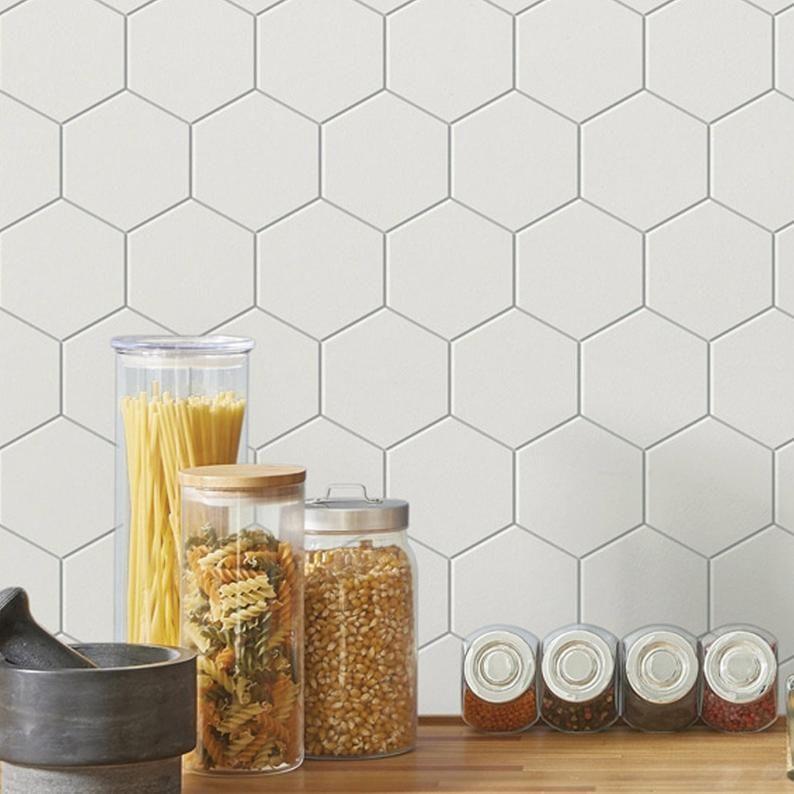 Peel And Stick Pvc Foaming Wallpaper Hexagon Tile Ambila For Etsy Peel And Stick Tile Stick On Tiles Peel And Stick Wallpaper