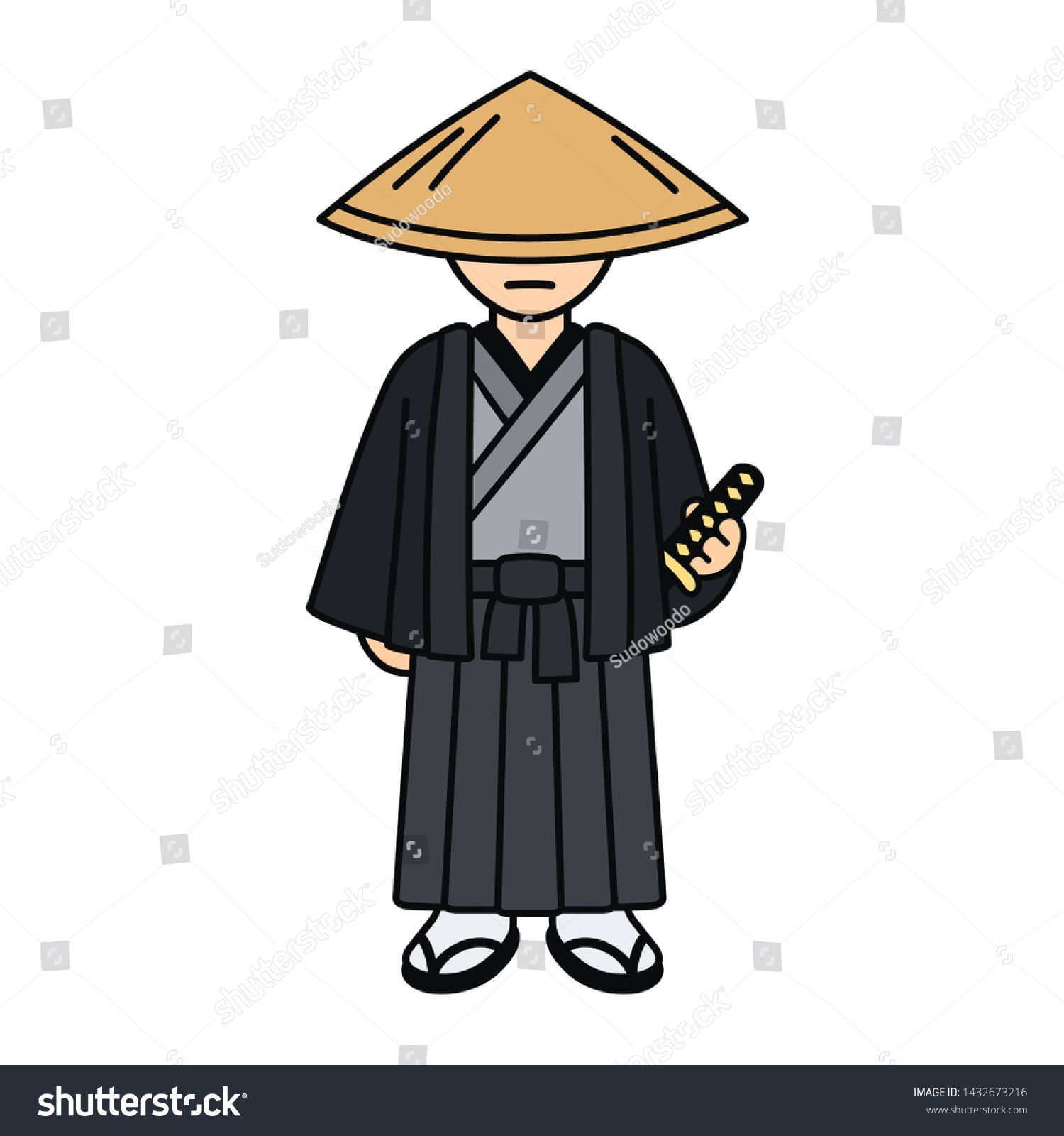 Cartoon Samurai Character Drawing In Traditional Kimono And Straw Hat Japanese Warrior With Katana Sword Is Samurai Drawing Warrior Drawing Character Drawing