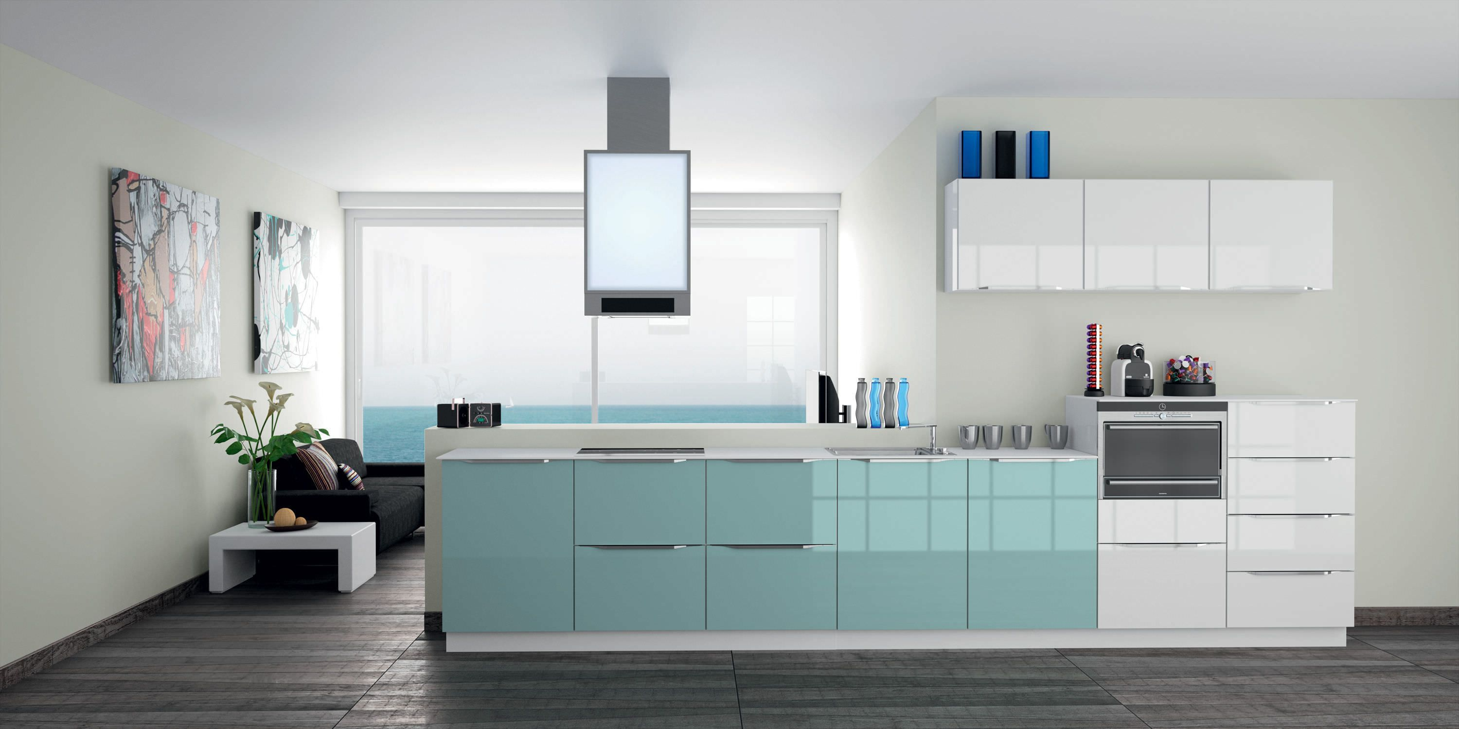 Kitchen Recent Models Soft Blue High Gloss Kitchen Cabinets With