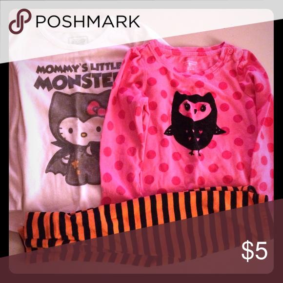 5e4ee5d5b Hello kitty monster long sleeve t shirt, 24 months. Owl pink long sleeve t  shirt 24 months. Black and orange leggings great for October, fall,  Halloween ...
