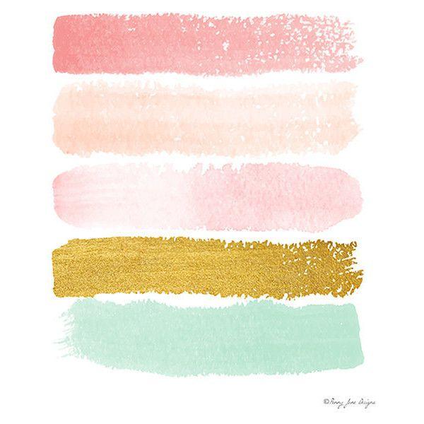 Pink Gold Seafoam Green Paint Strokes Digital Print