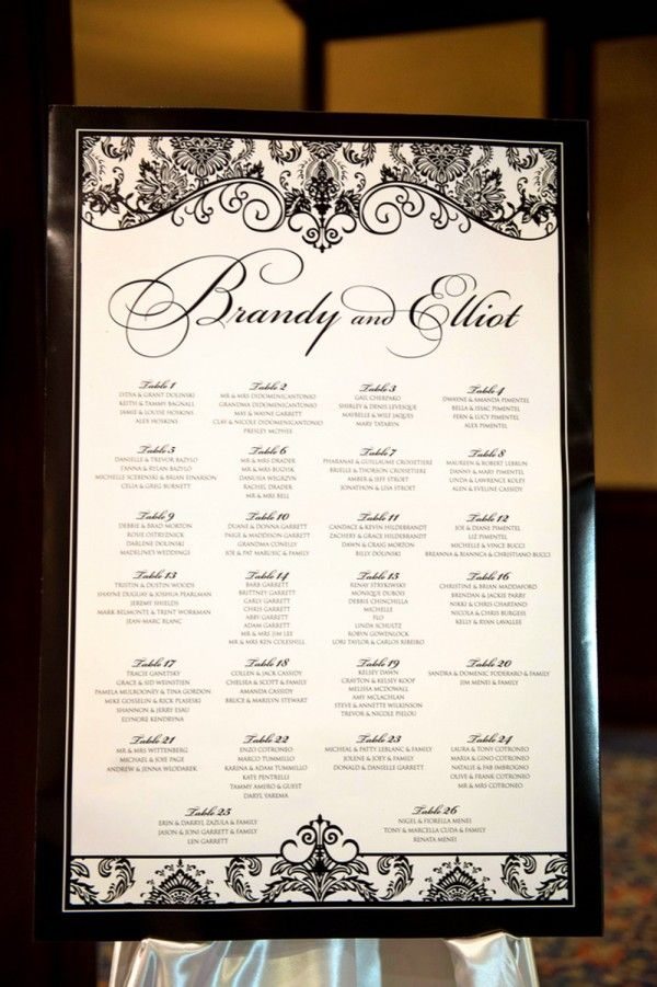Black and White Damask Place Settings