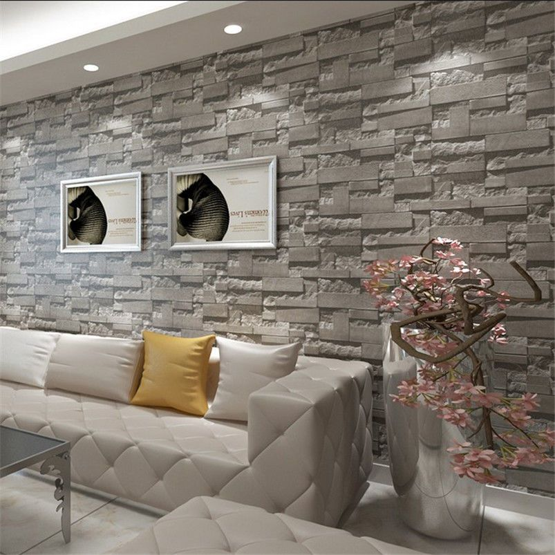 3d print grey brick stone wallpaper vintage rustic stacked for Wallpaper home hardware