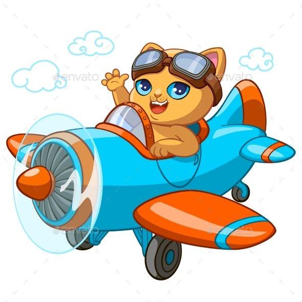 Kitty Pilot Cartoon Vector Illustration Of Kitten