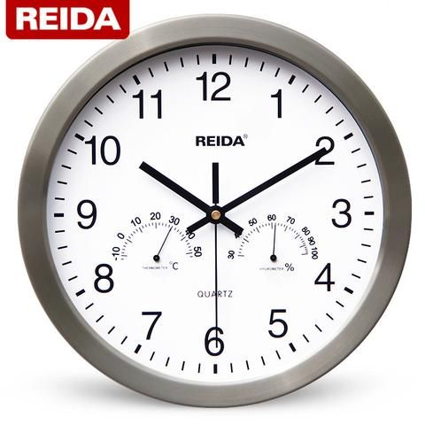 Reida 12 Inch Creative Fashion Wall Clock Stainless Steel Frame Mute Quartz Clock With Thermometer Hygrometer U Large Wall Clock Wall Clock Wall Clock Modern