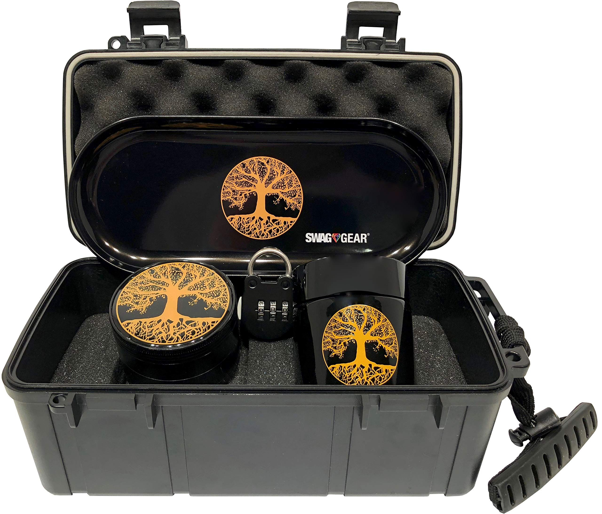 Tree Of Life Stash Box Combo Locking Smell Proof Case With Grinder Stash Jar And Rolling Tray Ultimate Stash Combo O In 2020 Stash Box Stash Containers Stash Jars