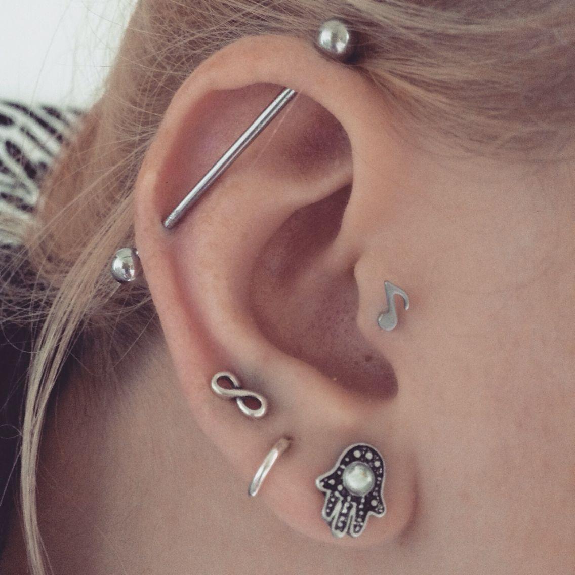 #industrial #tragus #piercings #earrings #infinity #hoop # ...