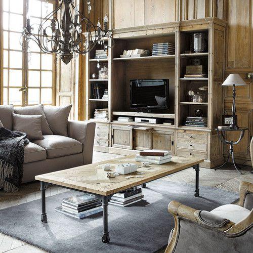 Bibliothèque meuble TV en pin massif recyclé Meubles Déco Maison