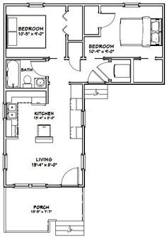14x32 Tiny House 14x32h1l 643 Sq Ft Excellent Floor Plans L Shaped House Plans L Shaped House Tiny House Floor Plans