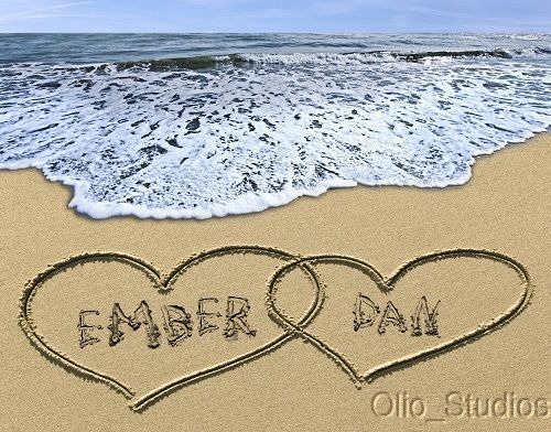 Details About Tropical Double Heart Name In The Sand Seascape Art Photo Print Wedding Gift