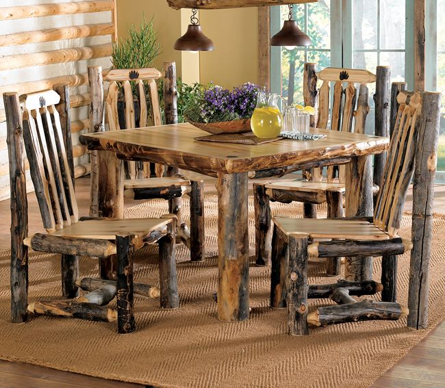 Wonderful Aspen Log Bear Claw Table And Chairs #cabin
