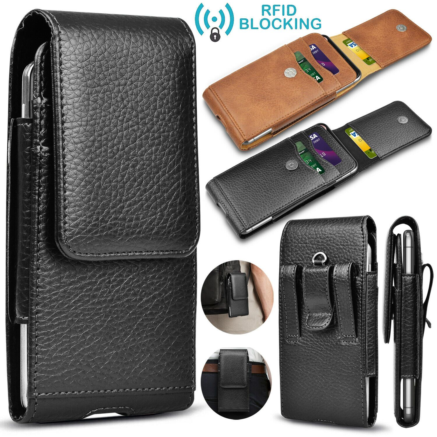 Cell phone holster belt clip loop pouch leather wallet