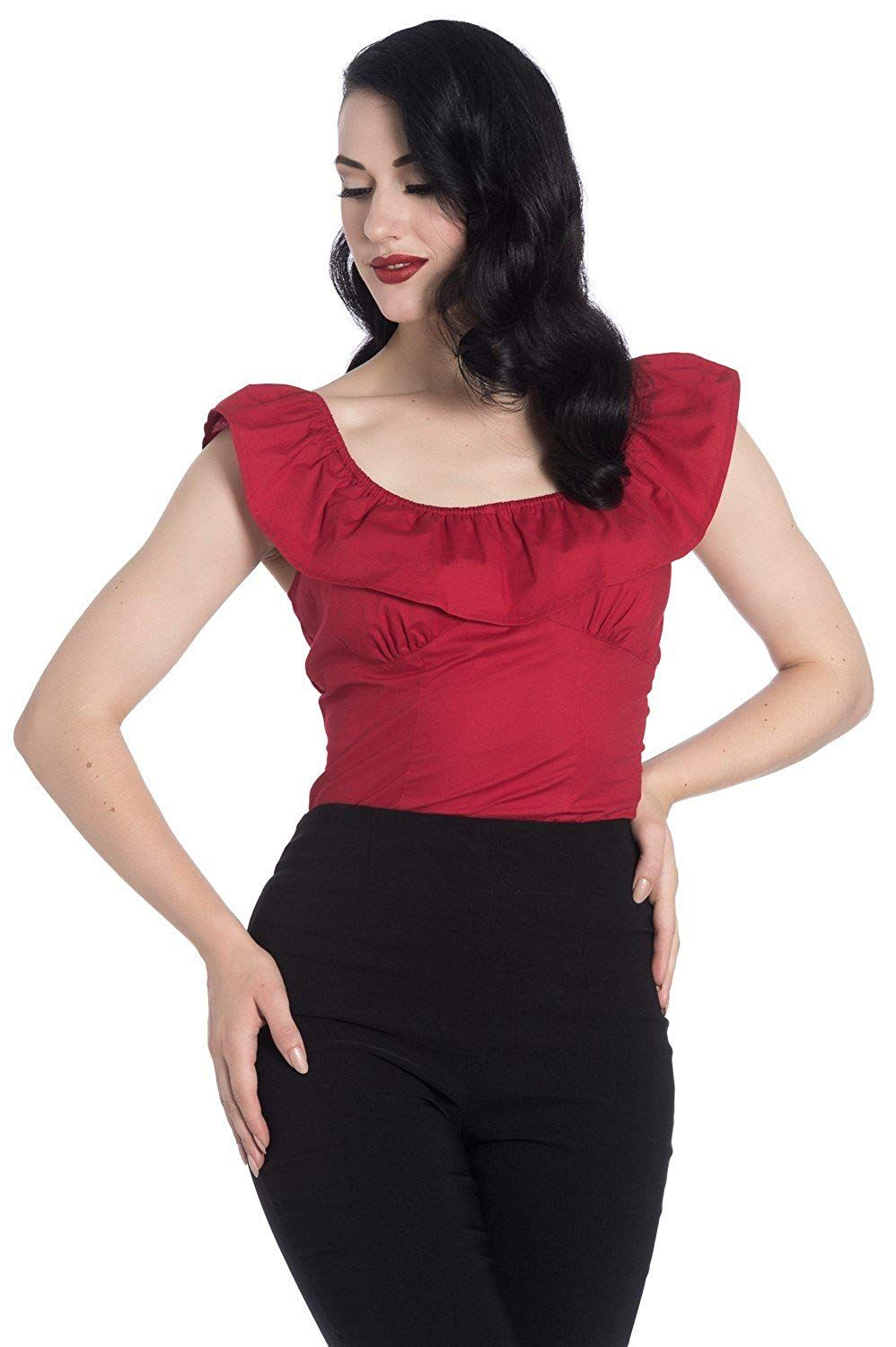 fe339eb237c Hell Bunny Rio Frill Vintage Style Retro 1950 s Rockabilly Gypsy Top at Amazon  Women s Clothing store