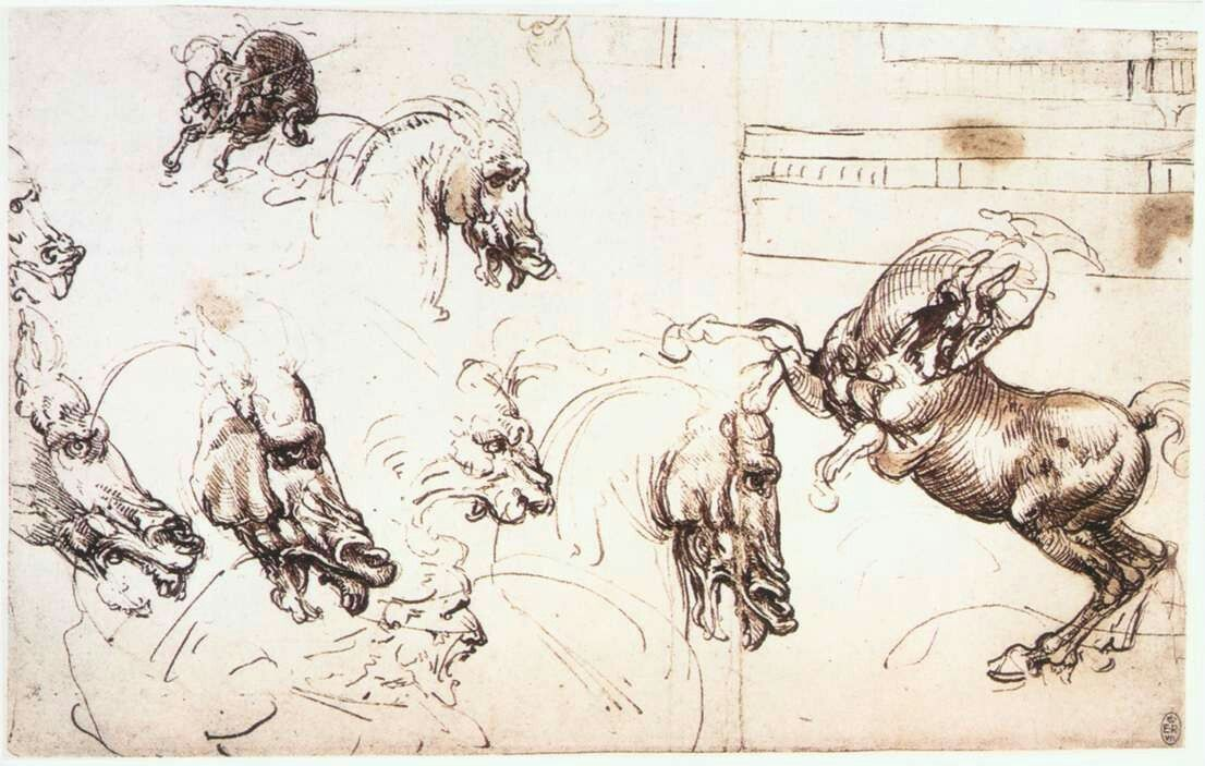 Studio di cavalli, Battaglia di Anghiari Autore Leonardo da Vinci ...