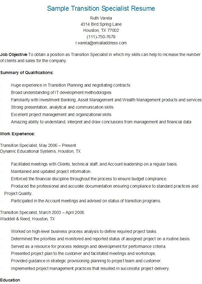 Sample Transition Specialist Resume resame Pinterest - transition specialist sample resume