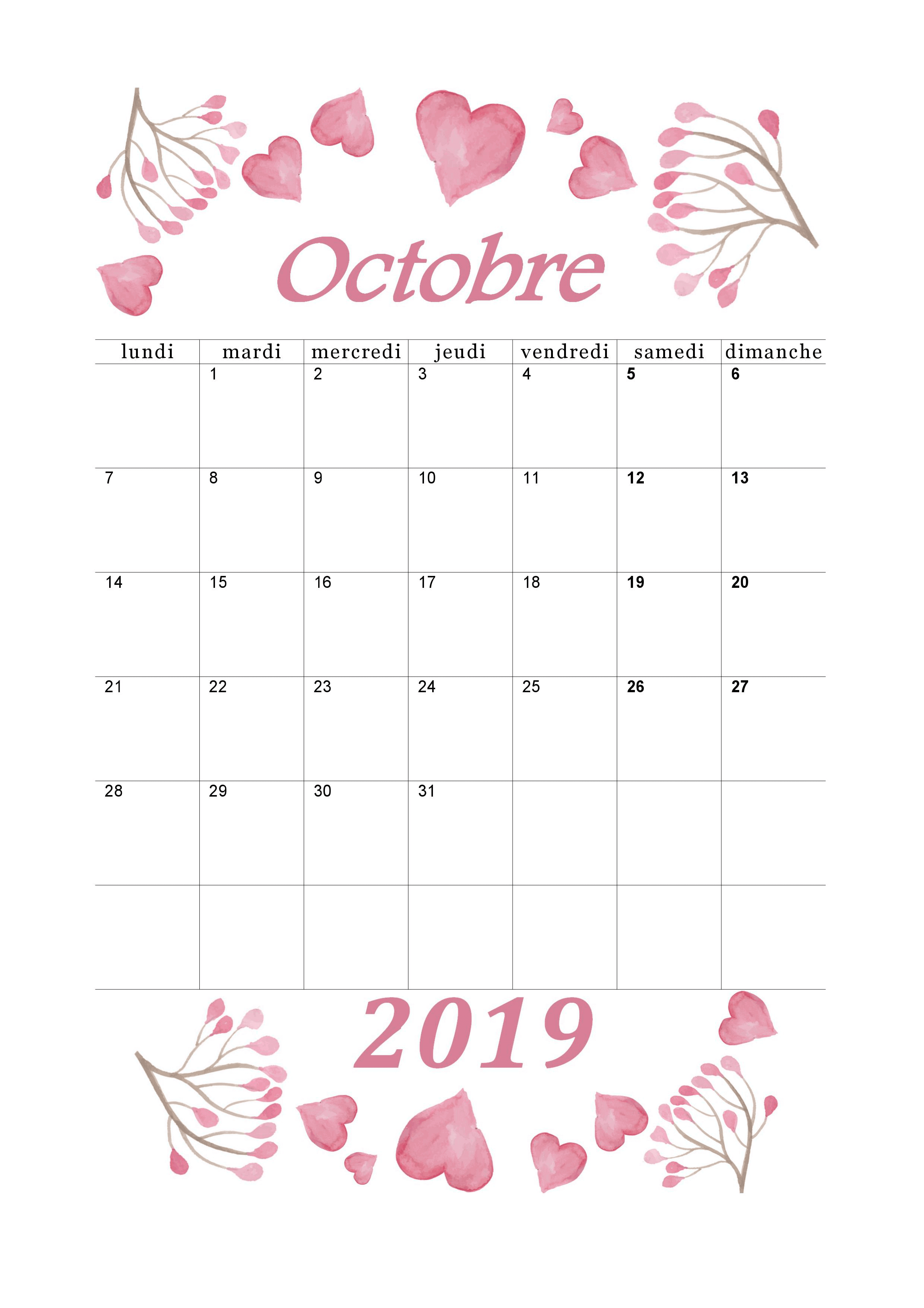 Calendrier Octobre 2019 à imprimer   Calendriers imprimables PDF