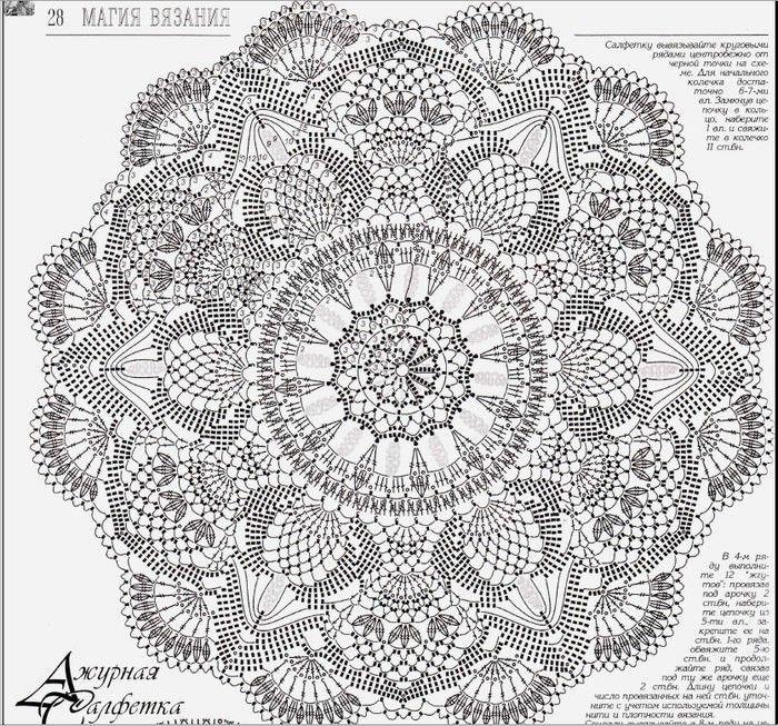 необыкновенно красивые салфетки вязание крючком схемы запись