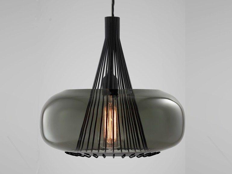 Lampade In Vetro Soffiato : Lampada a sospensione a luce diretta in vetro soffiato hooked by
