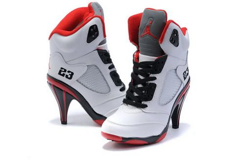 huge discount 30442 9fa0b nike air jordan 5 high heels for women white red ...