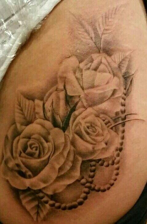 My Newest Tattoo Roses With Pearls Tattoos Lace Tattoo Pearl Tattoo
