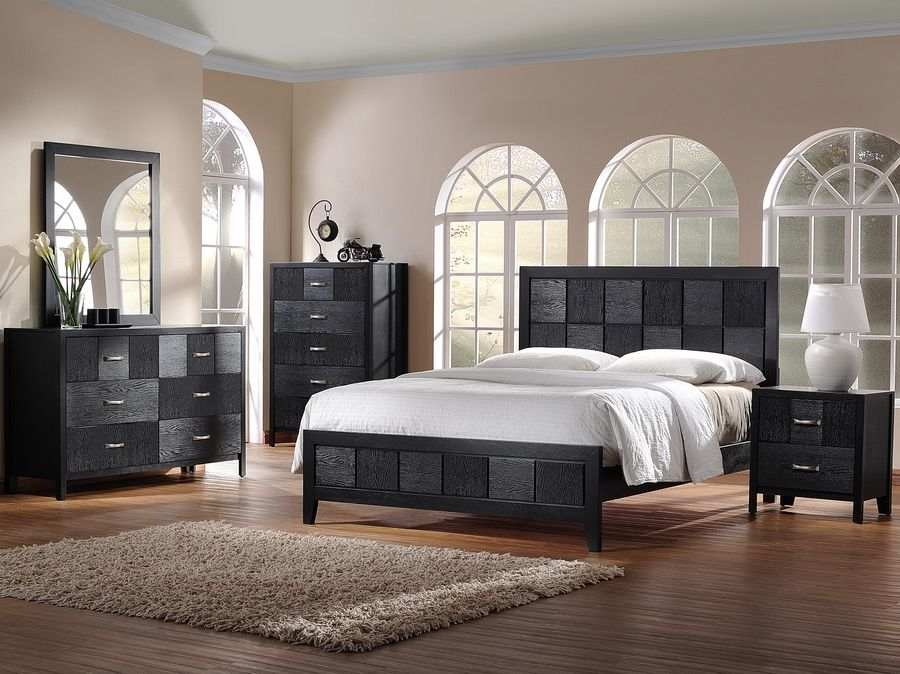 Montserrat Black Wood 5 Piece Modern Bedroom Set Home Furniture