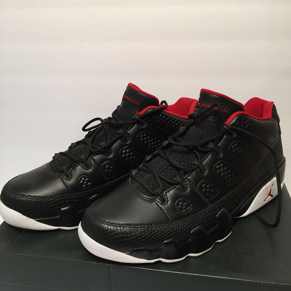 new york 49133 0b3ce Nike Air Jordan 9 Retro Low Mens Black Gym Red White 832822 001 Size 10