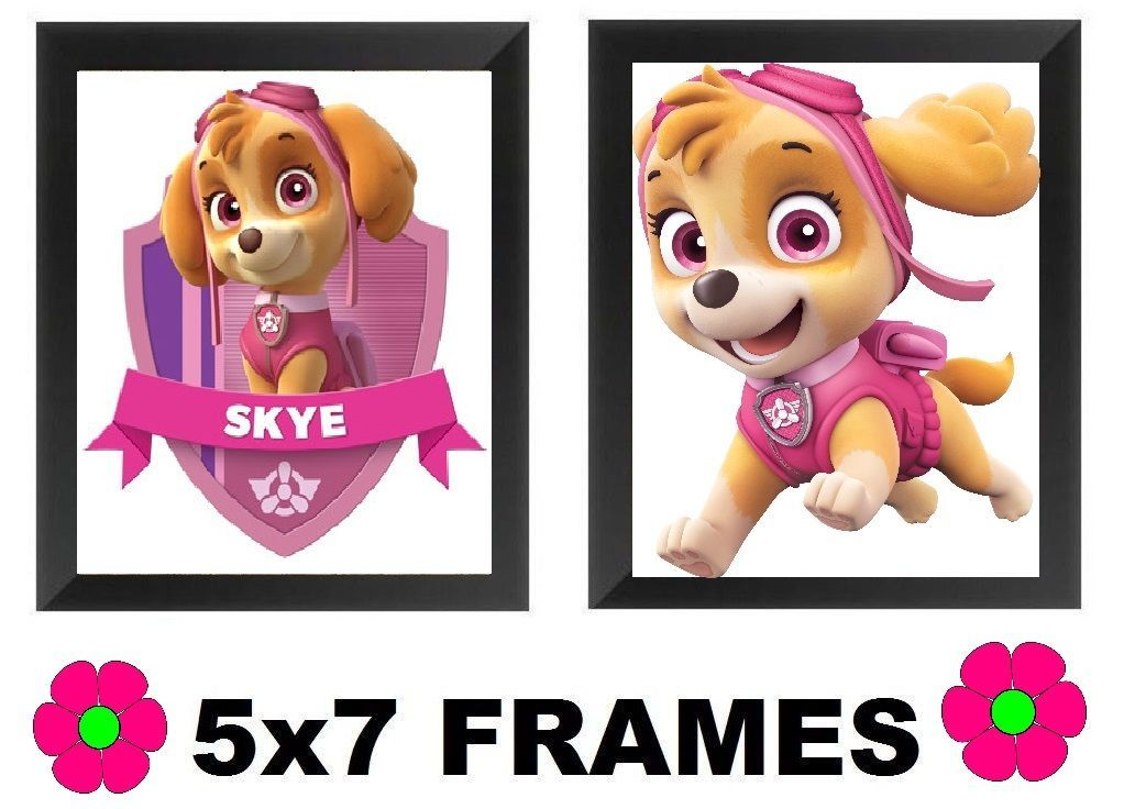 💗 Paw Patrol Skye Pictures Pink Cartoon Dog 5x7 Wall Hangings Home