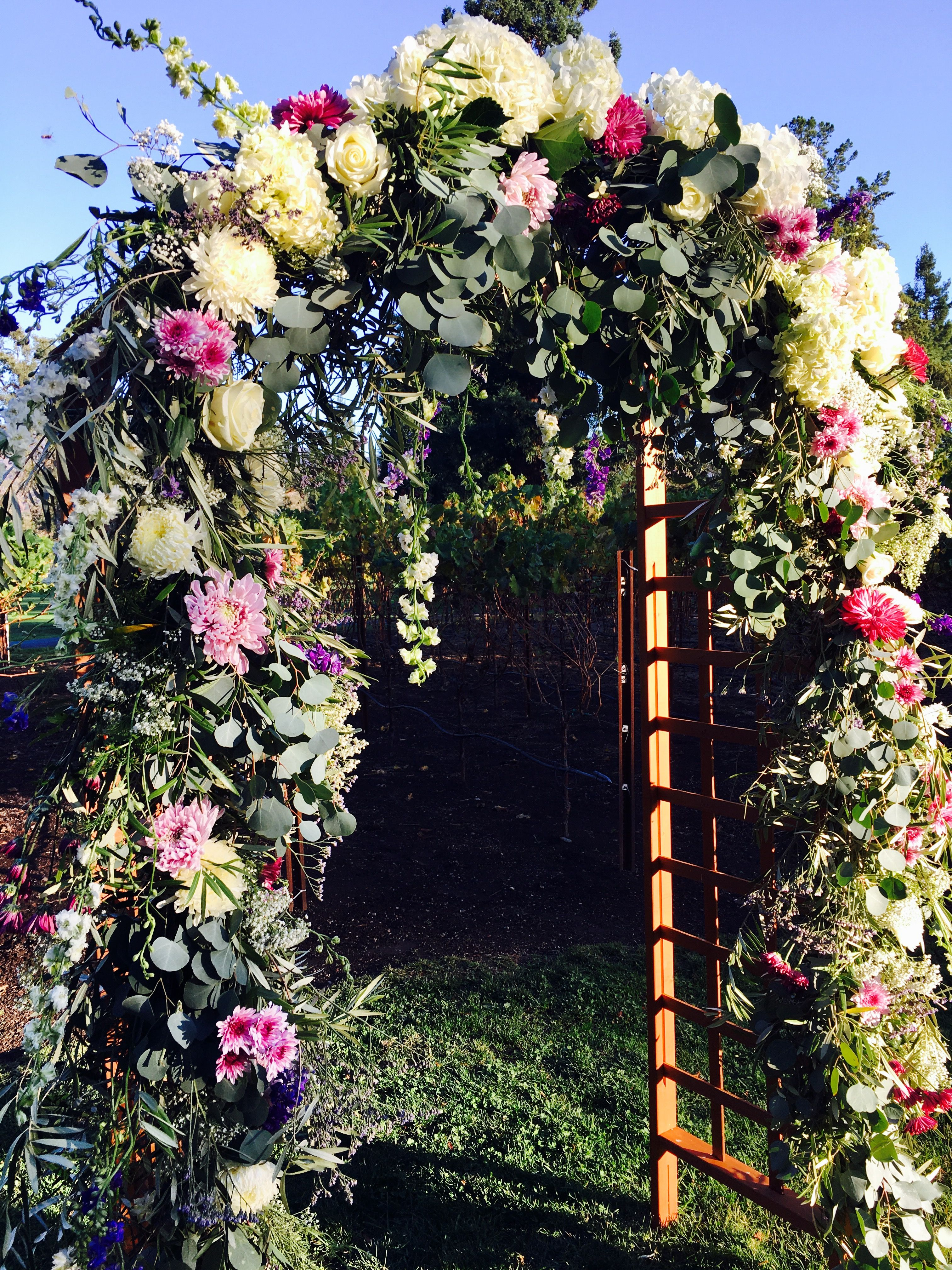 Silverado Country Club >> Purple Flower Wedding Arbor By Berry Bloom Floral At The Silverado