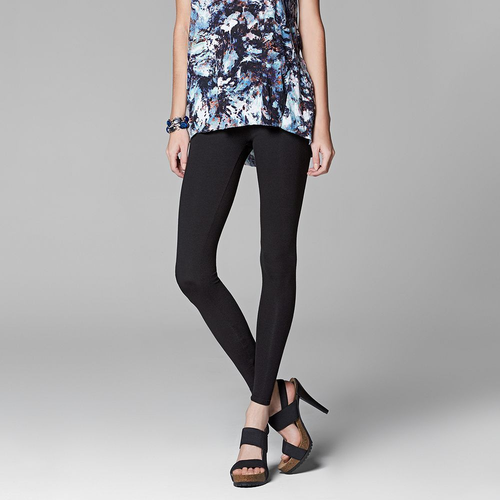 89cb41bb39e22b Women's Simply Vera Vera Wang Solid Leggings, Size: Small Short ...