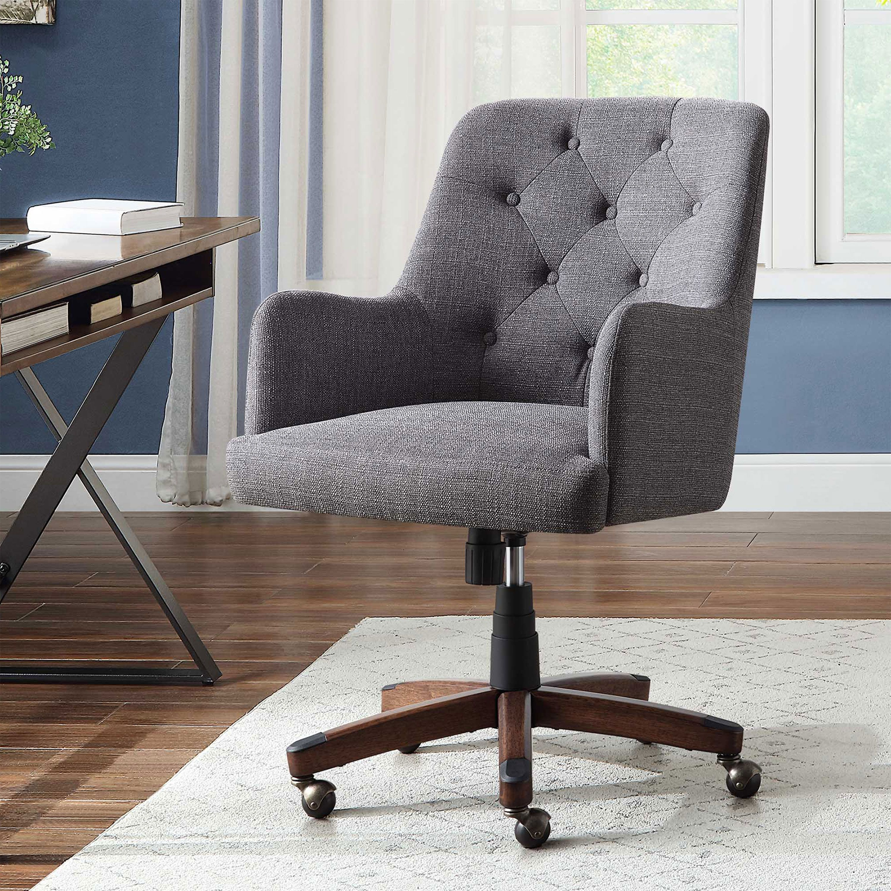 Better Homes Gardens Tufted Office Chair Gray Fabric Upholstery And Espresso Wood Base Walmart Com In 2020 Tufted Office Chair Stylish Office Chairs Office Chair