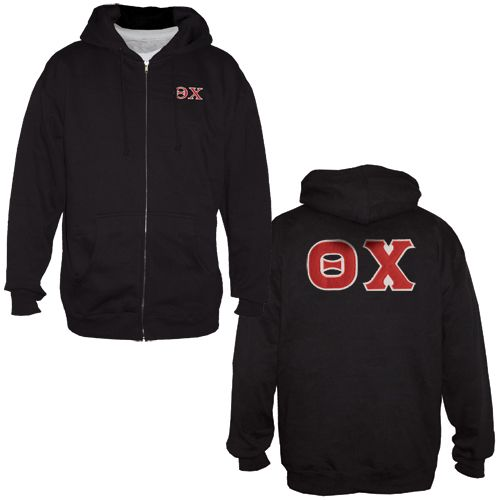 You can't beat the versatility of a full zip hoodie. Whats even better is this one shouts Theta Chi front and back.  Sewn on letters back design and embroidered left chest.  Cotton/poly blend, runs true to size.