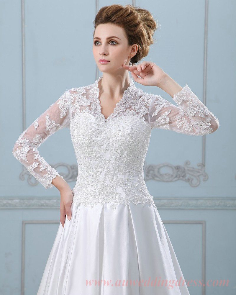 Lace Sleeves Satin Bridal - Pesquisa Google | Weddings | Pinterest ...