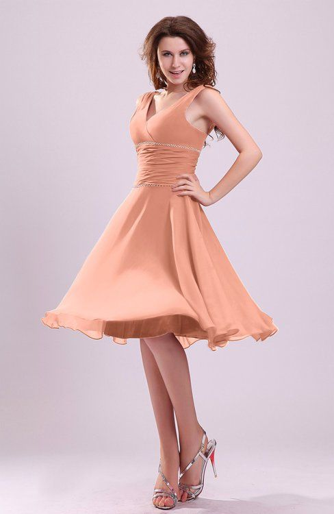 d4ab2d6ed1 Salmon Informal Zipper Chiffon Knee Length Sequin Bridesmaid Dresses