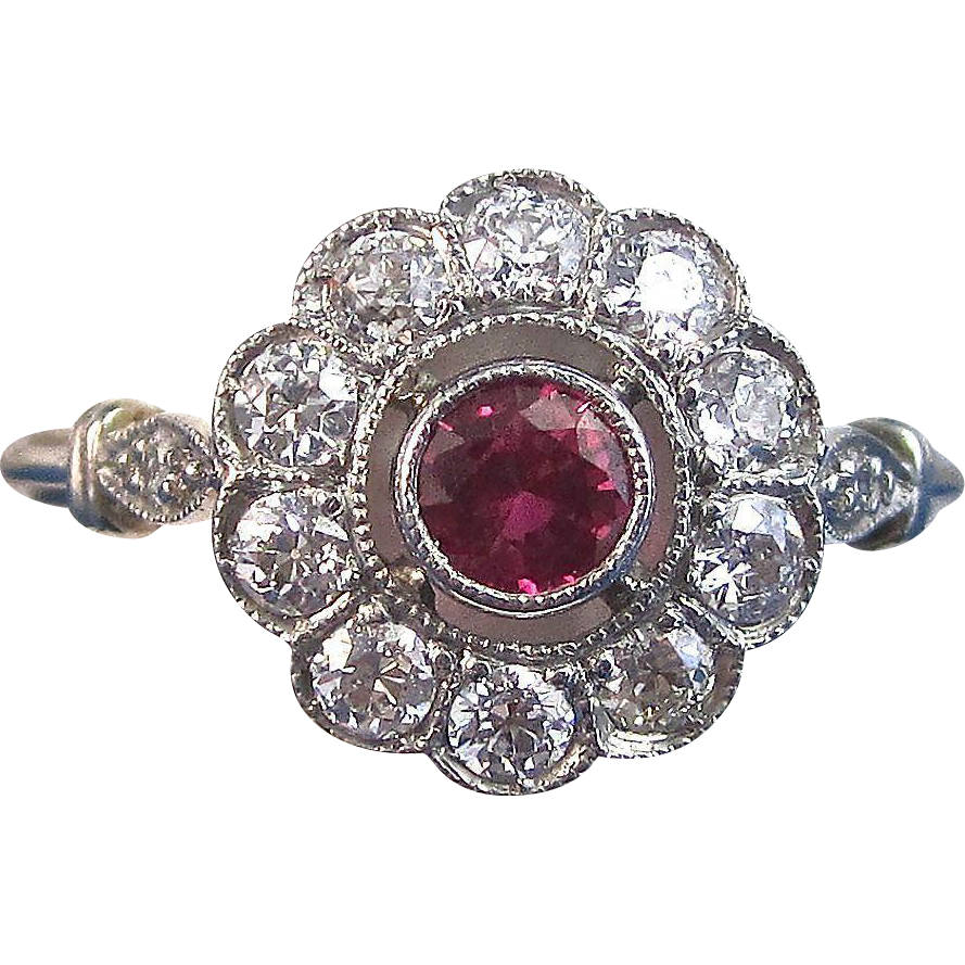 Art deco vintage us ruby diamond halo engagement birthstone